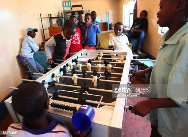 Boys playing tablesoccer in the Cargo Human Care Social project by Lufthansa Airline in Cooperation with different sponsors on March 20 2009 in...