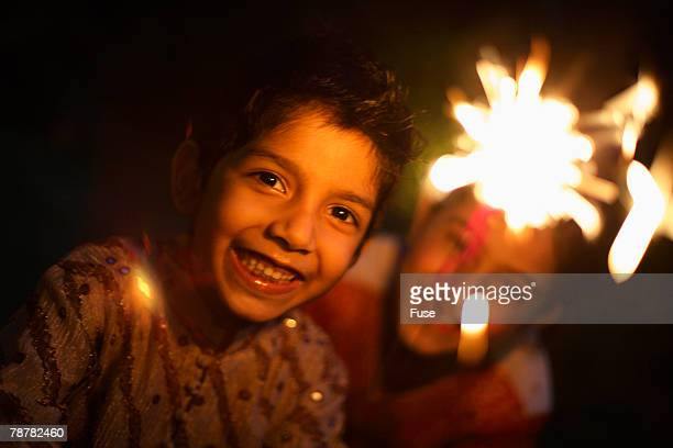 Boys Playing with a Sparkler