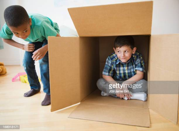 Boys playing with cardboard box