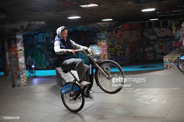 Boys pull stunts on 'Boris Bikes' at a skate park on the South Bank on April 5 2012 in London England The flagship cycling scheme which comprised...