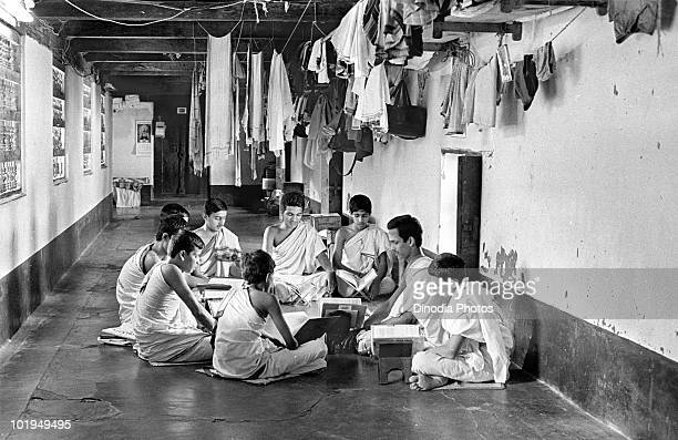 Boys reading books in Gurukul India circa 1965