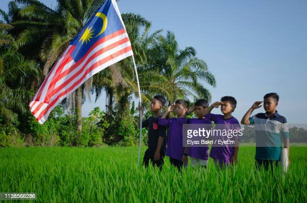boys saluting while standing by malaysian flag on field against clear sky - malaysian culture stock pictures, royalty-free photos & images