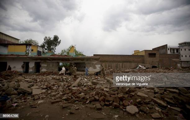 A boys' school that was destroyed by Taliban militants pictured on March 31 2009 in Mingora Swat Valley Pakistan