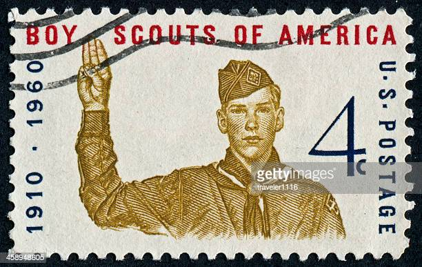 boys scouts of america stamp - boy scout stock photos and pictures