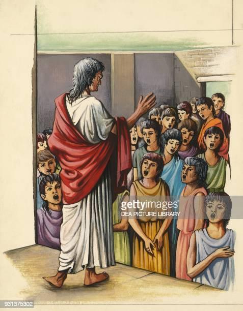 Boys singing the warlike hymns of Tyrtaeus Sparta drawing Greek civilization