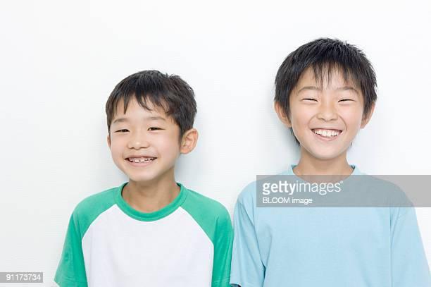 boys smiling, portrait - 16:9 ストックフォトと画像