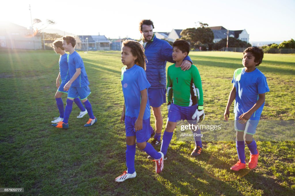 Boys soccer team after a game : Stock Photo