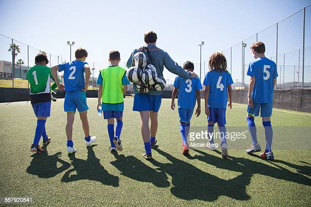 Boys soccer team preparing for a game