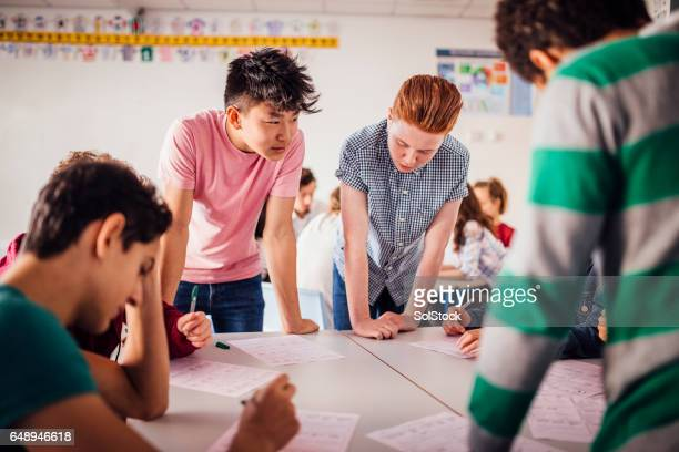 boys studying together - high school musical: the musical: the series stock photos and pictures