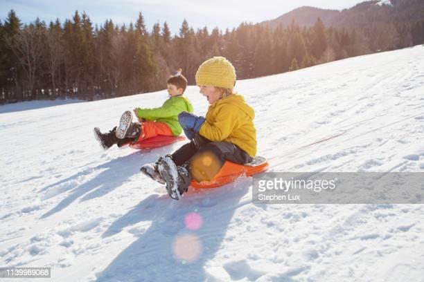 boys tobogganing - tobogganing stock pictures, royalty-free photos & images