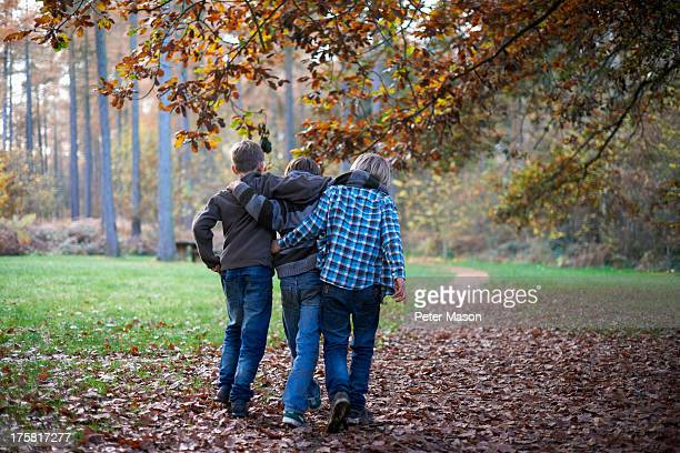boys walking through forest with arms around eachother - alleen jongens stockfoto's en -beelden