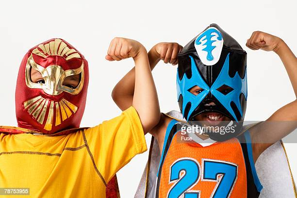boys wearing luchador masks - face guard sport stock pictures, royalty-free photos & images