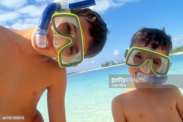 Boys Wearing Snorkels at Beach