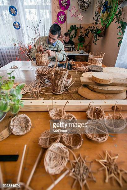 Boys with mental disorders make willow baskets in the class of working therapy Teterivka's Orphanage and Boarding school Zhytomyr Ukraine 2 of...
