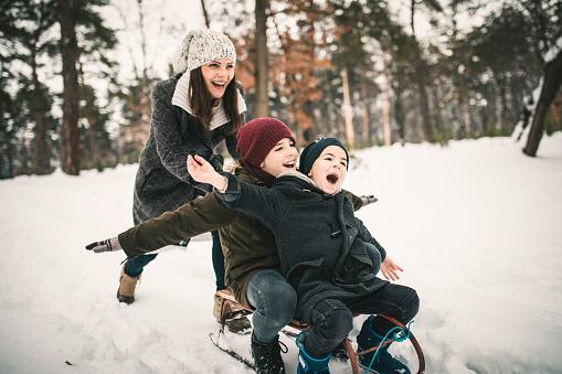 Boys With Mum Having Fun On A Sled 1125740908