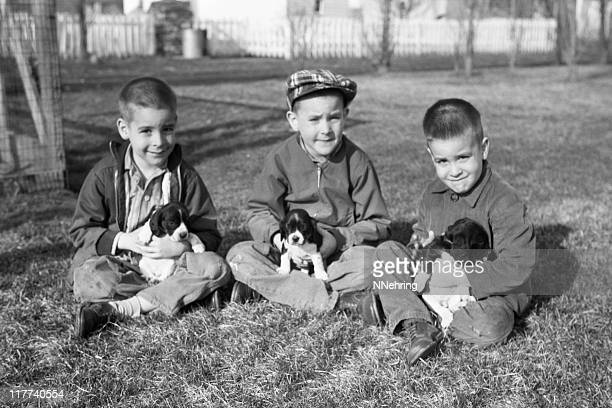 boys with puppies 1959, retro - 1950 1959 stock photos and pictures