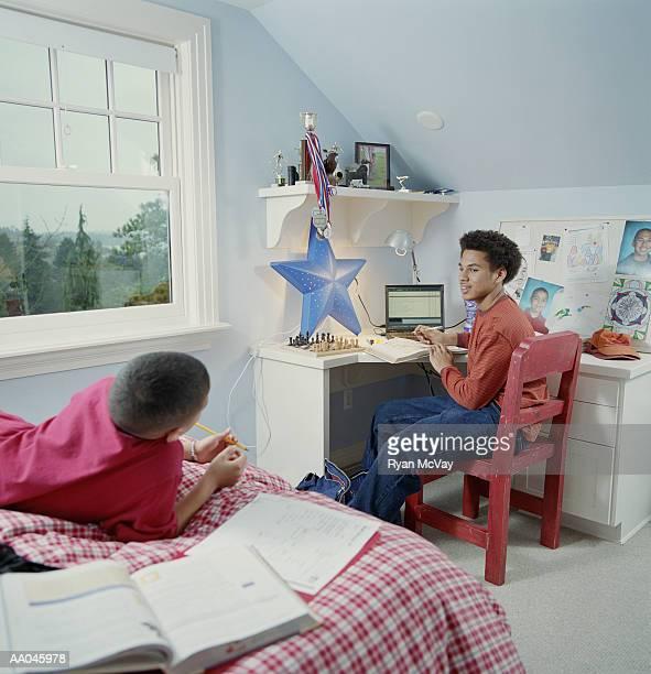 Boys Working on Homework