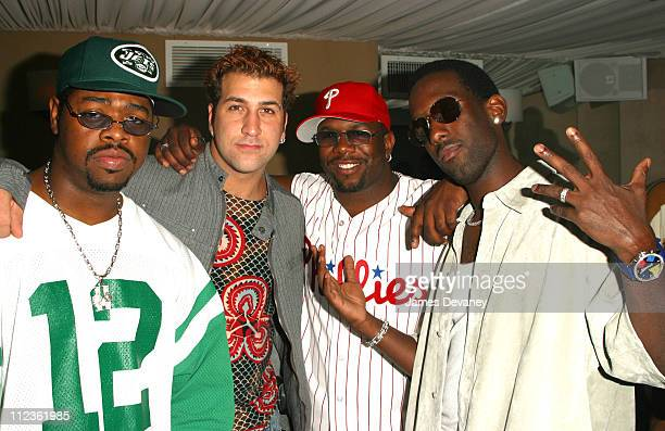 Boyz II Men and Joey Fatone during Boyz II Men album release party at Club Suede in New York City New York United States