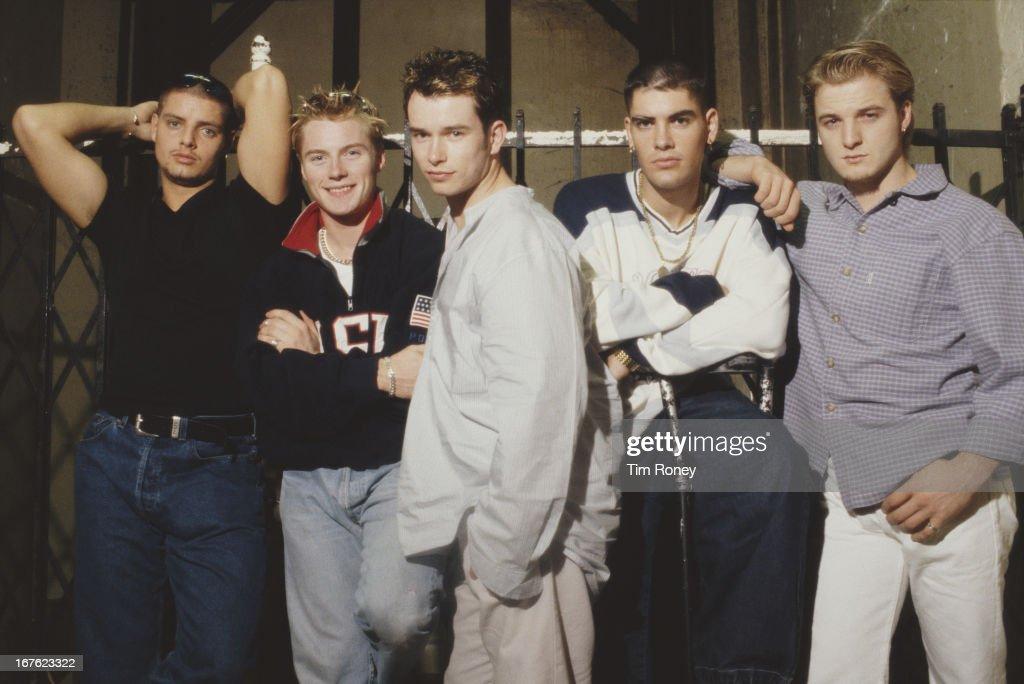 Boyzone (L - R Keith Duffy, Ronan Keating, Stephen Gately, Shane Lynch, Mikey Graham), 1996.