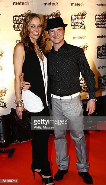 Boyzone member Mikey Graham and wife Karen arrive at the Meteor Ireland Music Awards on March 17 2009 in Dublin Ireland
