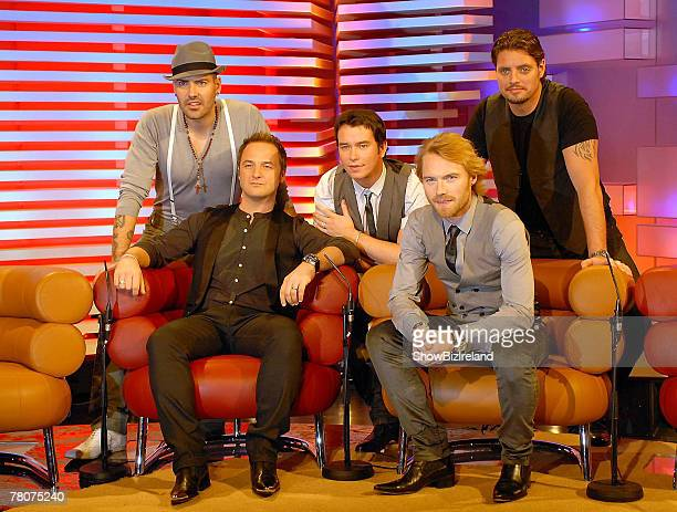Boyzone members Shane Lynch, Mikey Graham, Stephen Gately, Ronan Keating and Keith Duffy attend RTE's The Late Late Show at RTE Studios on November...