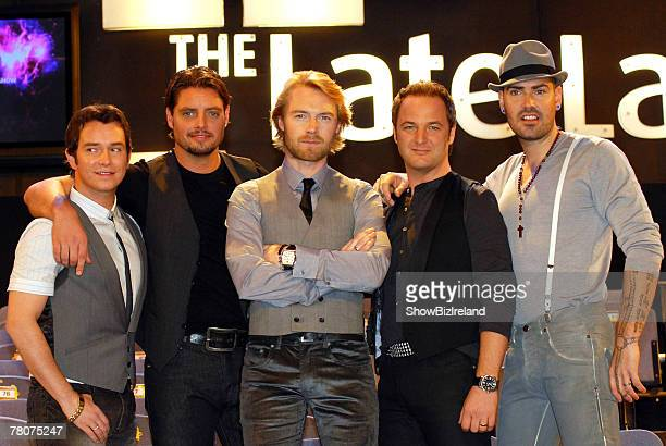 Boyzone members Stephen Gately, Keith Duffy, Ronan Keating, Mikey Graham and Shane Lynch attend RTE's The Late Late Show at RTE Studios on November...