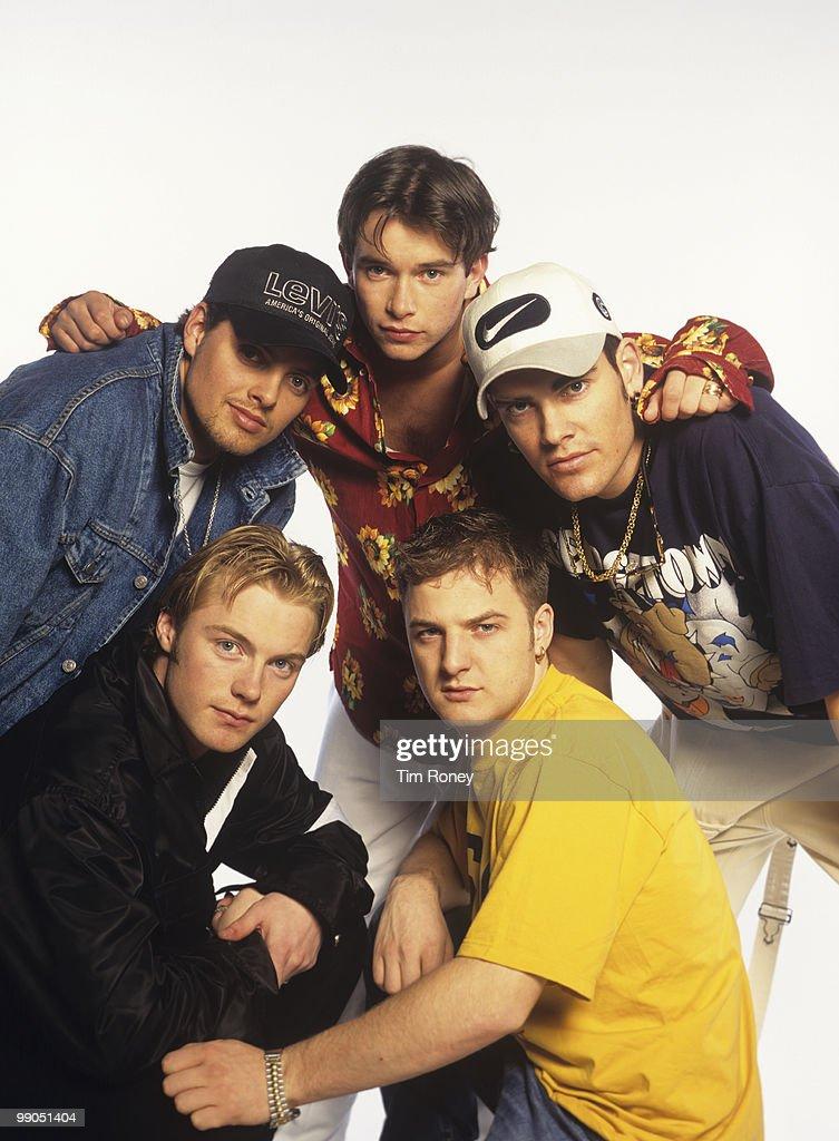 Boyzone (Keith Duffy, Ronan Keating, Stephen Gately (1976-2009), Mikey Graham and Shane Lynch), pop group, circa 1996.