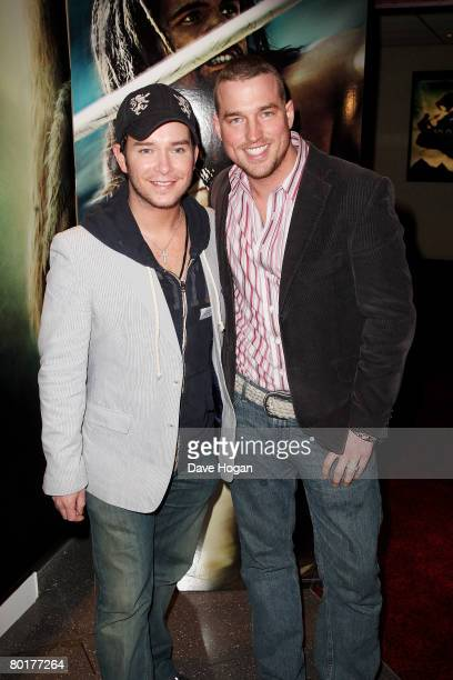 Boyzone's Stephen Gately and Andy Cowles arrive at the VIP screening of '10000 BC' at Empire Cinema on March 9 2008 in London England