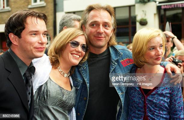Boyzone's Stephen Gately Catatonia's Cerys Matthews actor Rik Mayall and actress Jane Horrocks at the New London Theatre Dury Lane London for the...