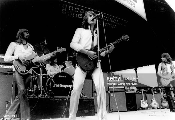 Boz Burrell Simon Kirke Paul Rodgers and Mick Ralphs of the rock band 'Bad Company' perform onstage in circa 1973