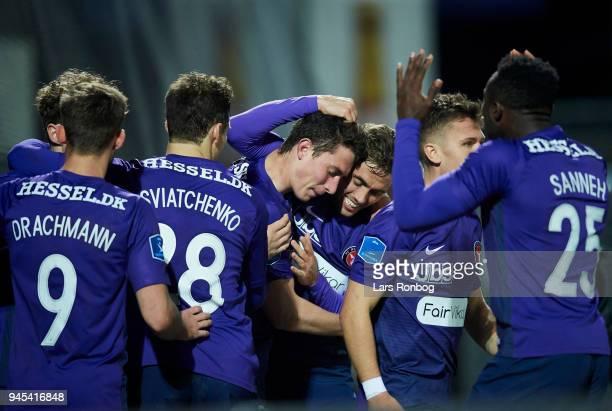 Bozhidar Kraev and Jakob Poulsen of FC Midtjylland celebrate after scoring their second goal during the Danish DBU Pokalen Cup quarterfinal match...