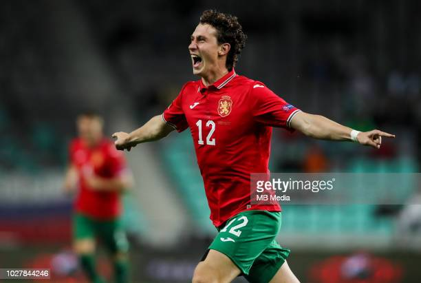 Bozhidar Kraev of Bulgaria celebrates after scoring first goal for Bulgaria during football match between National Teams of Slovenia and Bulgaria in...