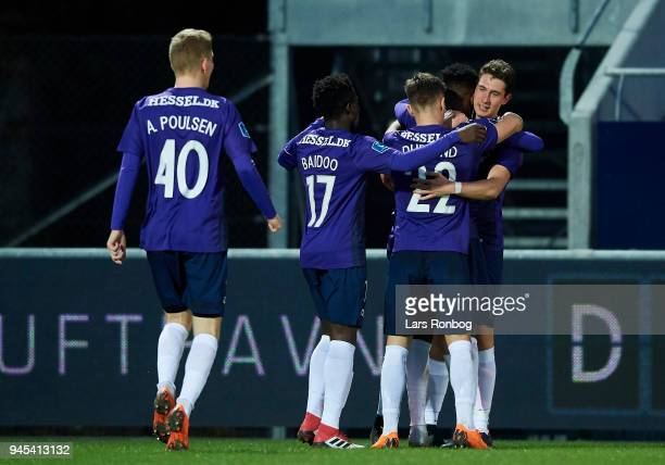 Bozhidar Kraev of FC Midtjylland celebrates after scoring their first goal during the Danish DBU Pokalen Cup quarterfinal match between Hobro IK and...