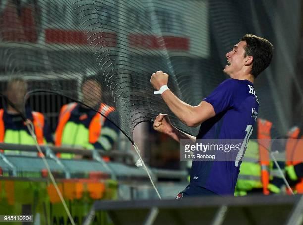 Bozhidar Kraev of FC Midtjylland celebrates after scoring their second goal during the Danish DBU Pokalen Cup quarterfinal match between Hobro IK and...