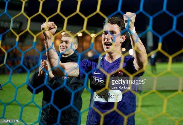 Bozhidar Kraev of FC Midtjylland celebrates after the Danish DBU Pokalen Cup quarterfinal match between Hobro IK and FC Midtjylland at DS Arena on...