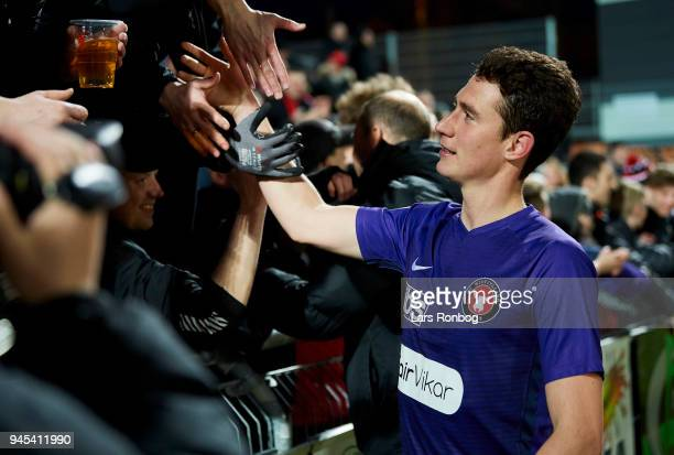 Bozhidar Kraev of FC Midtjylland celebrates with the fans after the Danish DBU Pokalen Cup quarterfinal match between Hobro IK and FC Midtjylland at...