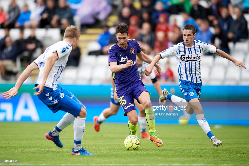 Bozhidar Kraev of FC Midtjylland in action during the Danish Alka Superliga match between OB Odense and FC Midtjylland at TREFOR Park on August 20, 2017 in Odense, Denmark.