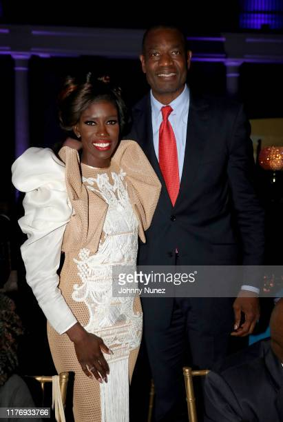 Bozoma Saint John and Dikembe Mutombo attend The The Africa America Institute 35th Annual Awards Gala 2019 at American Museum of Natural History on...