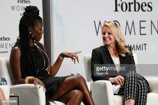 Bozoma Saint John and Gwynne Shotwell speak during the 2017 Forbes Women's Summit at Spring Studios on June 13 2017 in New York City