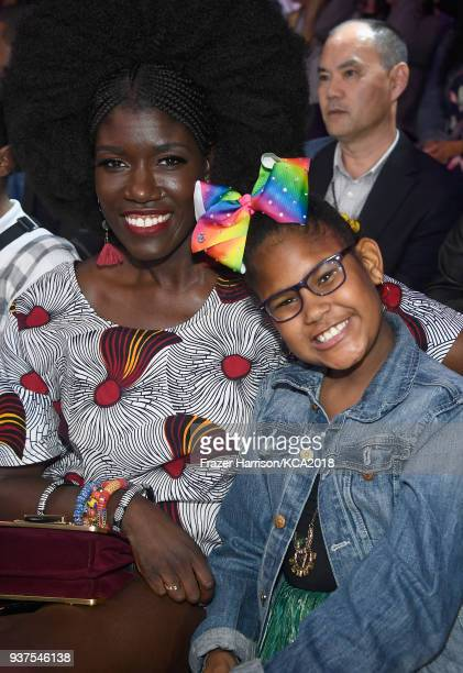 Bozoma Saint John and Lael Saint John attend Nickelodeon's 2018 Kids' Choice Awards at The Forum on March 24 2018 in Inglewood California
