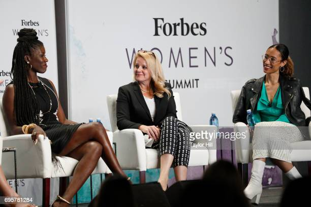 Bozoma Saint John Gwynne Shotwell and Elaine Welteroth speak during the 2017 Forbes Women's Summit at Spring Studios on June 13 2017 in New York City