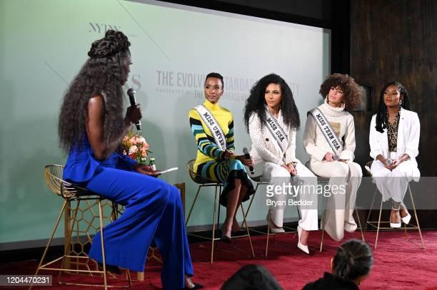 Bozoma Saint John, Miss Universe Zozibini Tunzi, Miss USA Cheslie Kryst, Miss Teen USA Kaliegh Garris and Miss America 2019 Nia Franklin speak at...