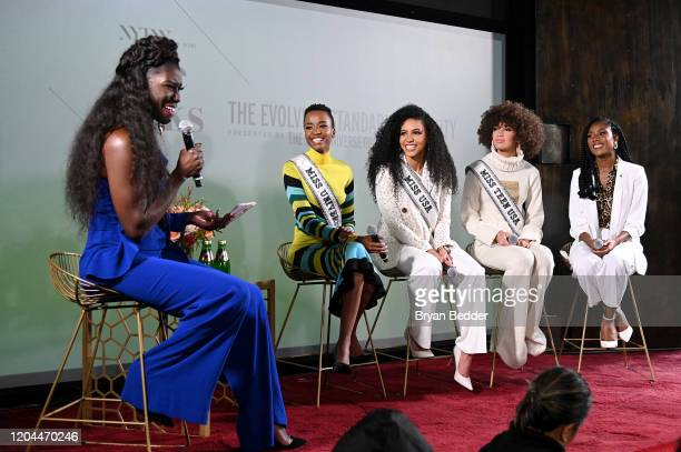 Bozoma Saint John Miss Universe Zozibini Tunzi Miss USA Cheslie Kryst Miss Teen USA Kaliegh Garris and Miss America 2019 Nia Franklin speak at NYFW...