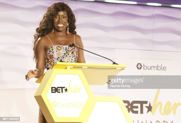 Bozoma Saint John recipient of the First Mover Award speaks onstage during the BET Her Awards presented by Bumble at Conga Room on June 21 2018 in...