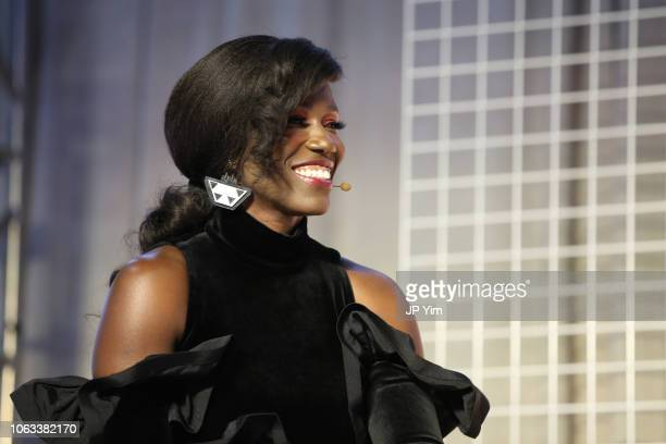 Bozoma Saint John speaks onstage at Girlboss Rally NYC 2018 at Knockdown Center on November 18 2018 in Maspeth New York