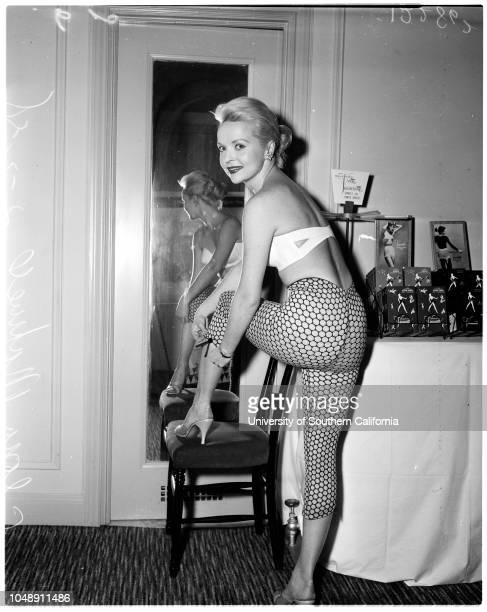 Bra and Corset show at Biltmore [Hotel] 2 January 1958 Model Gloria MaxwellModel Randy AllenCaption slip reads 'Photographer Paegel Date Reporter...