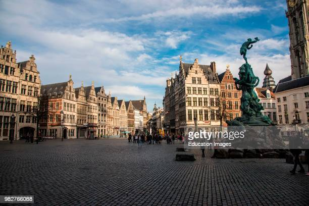 Brabo Fountain in the Grote Markt, Antwerp, Belgium.