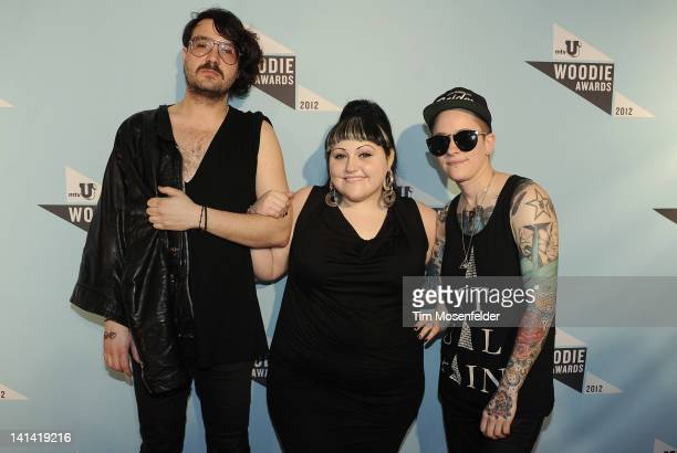 Brace Paine Beth Ditto and Hannah Blilie of Gossip attend the 2012 mtvU Woodie Awards on March 15 2012 in Austin Texas