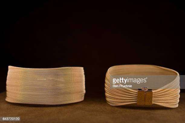 A bracelet is displayed at Sharps Pixley Bullion Brokers on December 15 2015 in London England The brand established in 1778 is owned by the German...