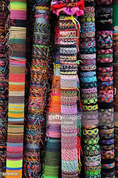 Bracelets woven in bright colours, Cusco, Peru.